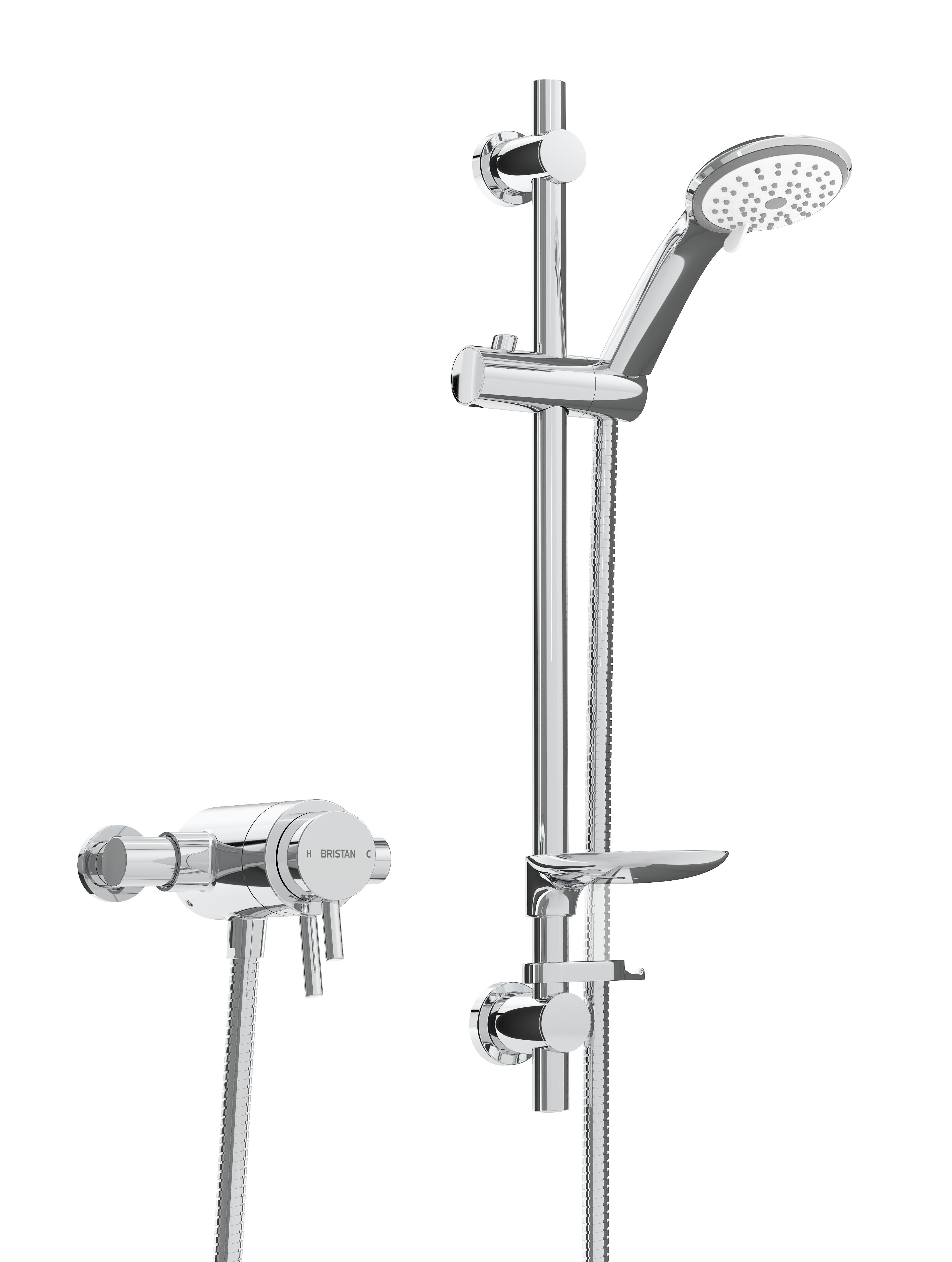 BRISTAN PRISM THERMOSTATIC EXPOSED DUAL CONTROL SHOWER VALVE WITH ADJUSTABLE RISER KIT - PM2 CSHXAR C