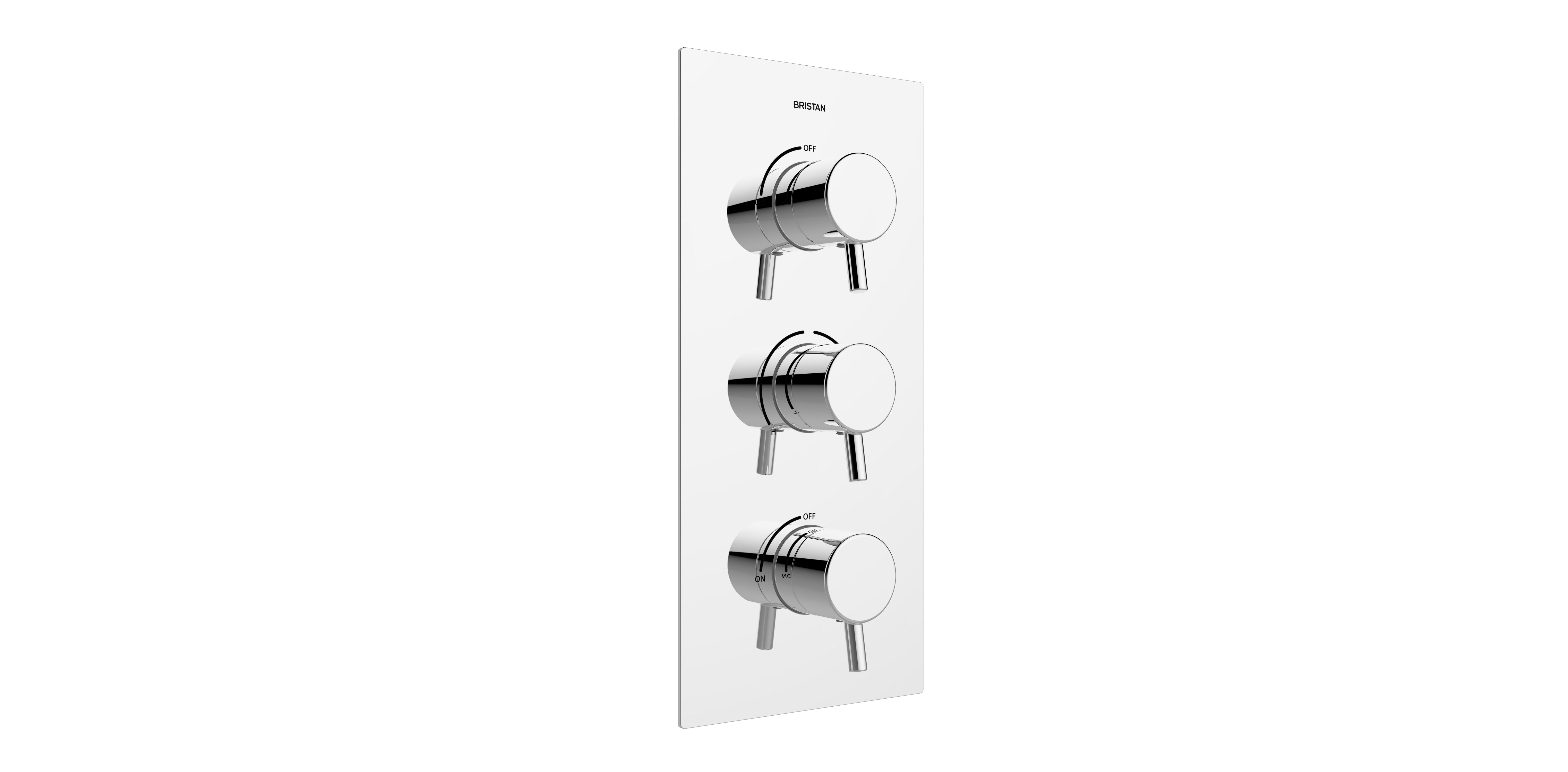 BRISTAN PRISM THERMOSTATIC RECESSED THREE CONTROL SHOWER VALVE WITH INTEGRAL TWIN STOPCOCKS - PM2 SHC3STP C