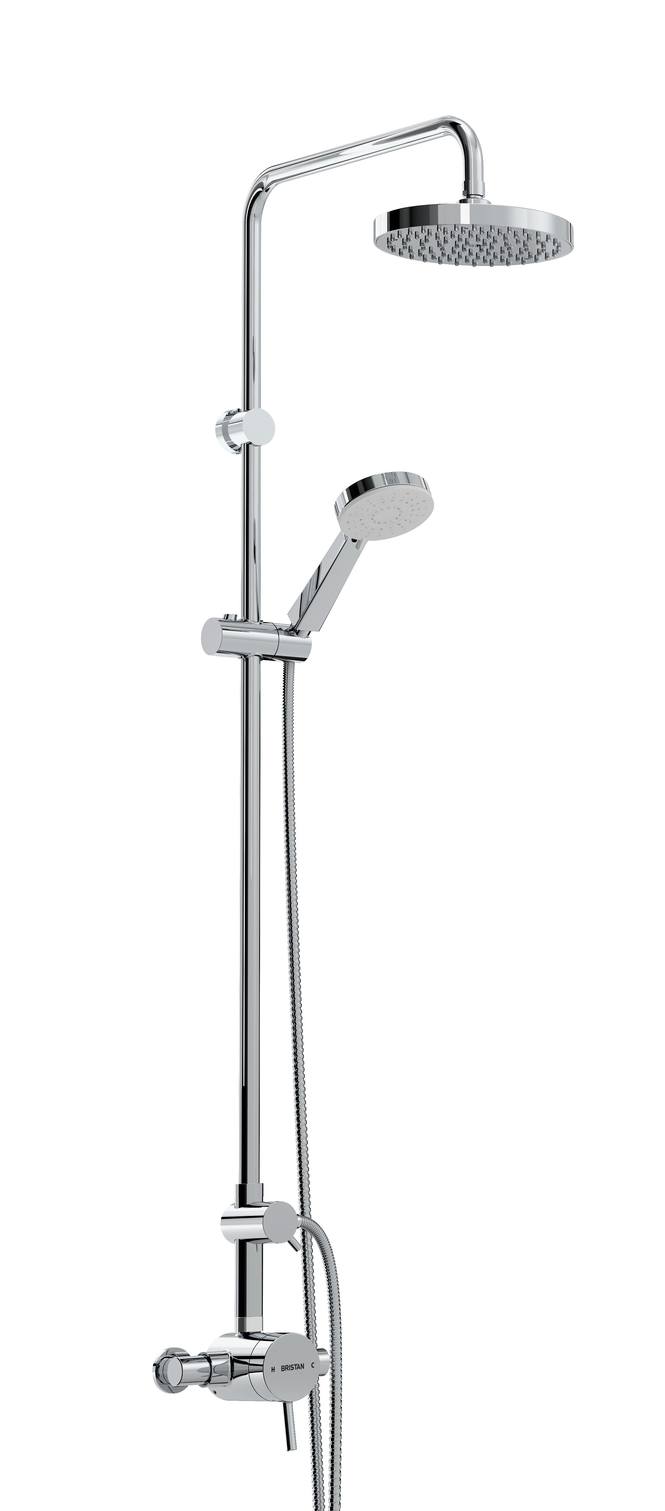BRISTAN PRISM THERMOSTATIC EXPOSED SINGLE CONTROL SHOWER VALVE WITH DIVERTER AND RIGID RISER KIT - PM2 SQSHXDIV C