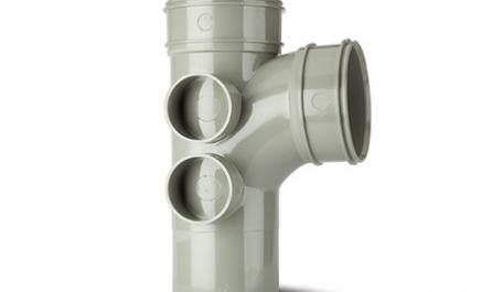 Polypipe 110mm / 4In Soil 92.5 Degree Double Socket Branch Grey