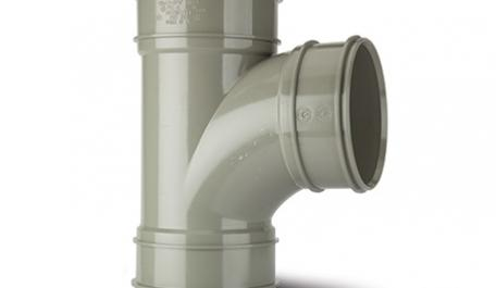 Polypipe 110mm / 4In 92.5 Degree Triple Socket Branch Grey
