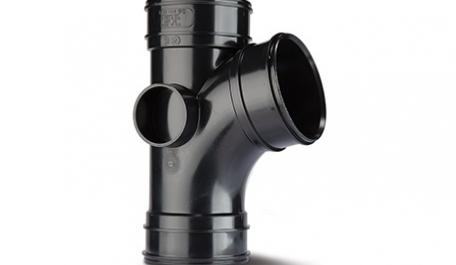 Polypipe Solvent 110mm / 4In 104 Degree Branch Triple Socket Black