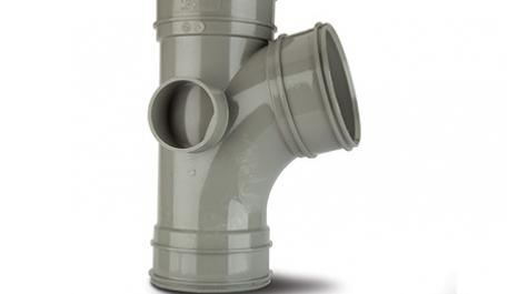 Polypipe Solvent 110mm / 4In 104 Degree Branch Triple Socket Grey