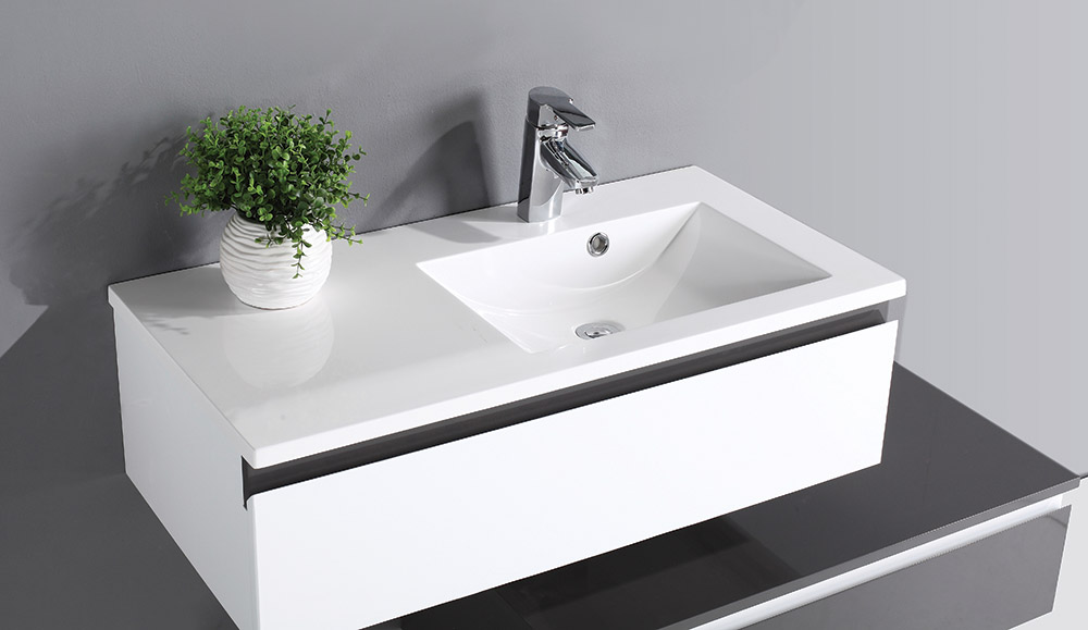 QX SIENNA 900 X 460 RESIN BASIN - RIGHT HAND
