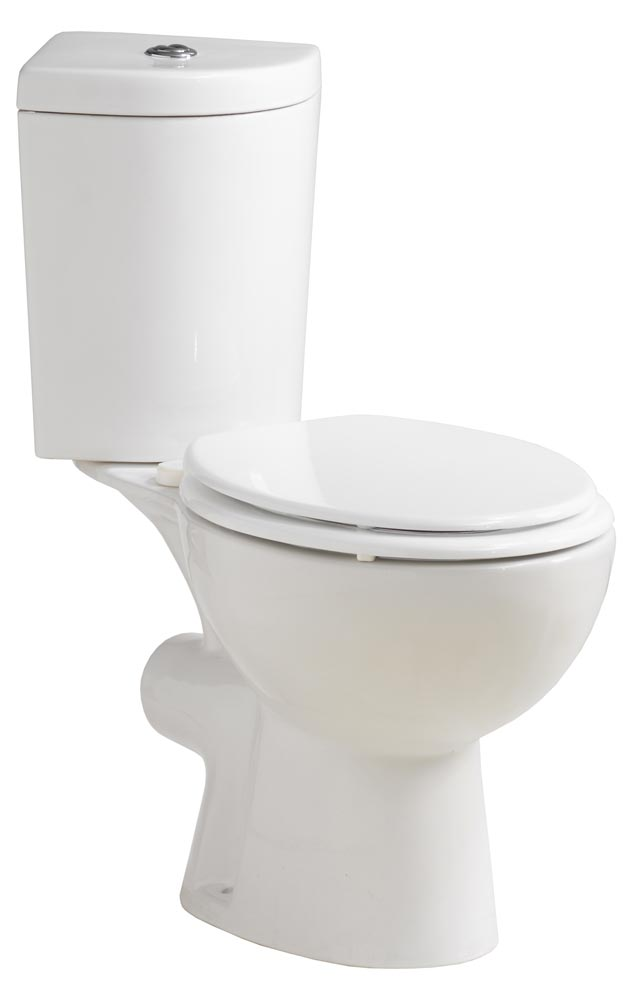 QX SOLO WC CORNER CLOSE COUPLED PAN / CISTERN & WOOD MOULDED SEAT
