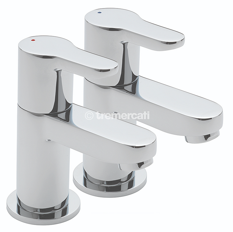 TRE MERCATI LOLLIPOP PAIR OF BASIN TAPS CHROME PLATED