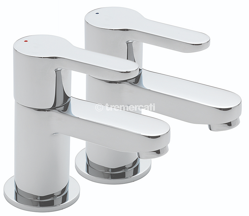 TRE MERCATI LOLLIPOP PAIR OF BATH TAPS CHROME PLATED