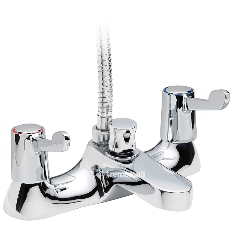 "TRE MERCATI CAPRI LEVER DECK BATH SHOWER MIXER COMPLETE WITH KIT -CERAMIC DISC VALVES -3"" LEVERS CHROME PLATED"