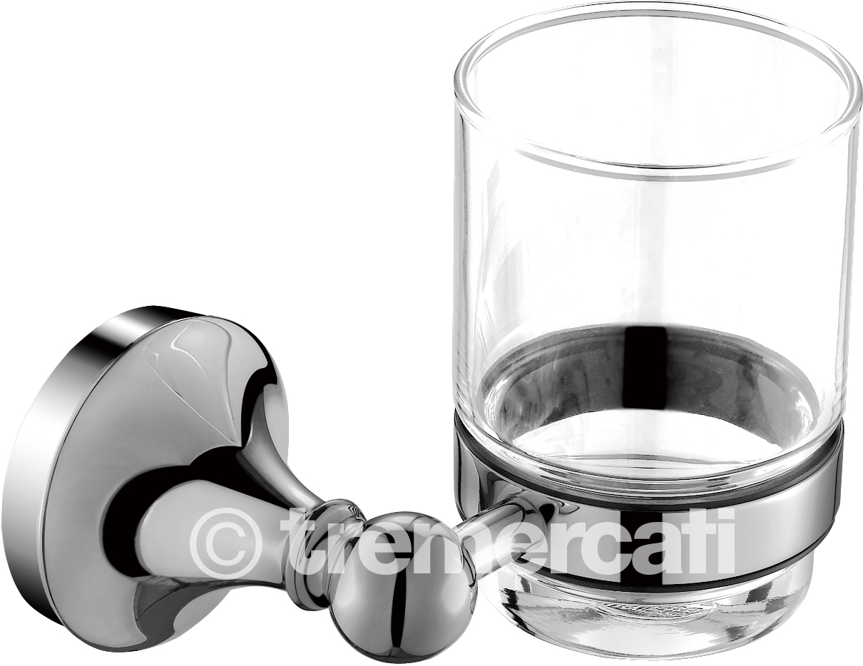 TRE MERCATI IMPERIAL WALL MOUNTED GLASS AND HOLDER - CHROME PLATED