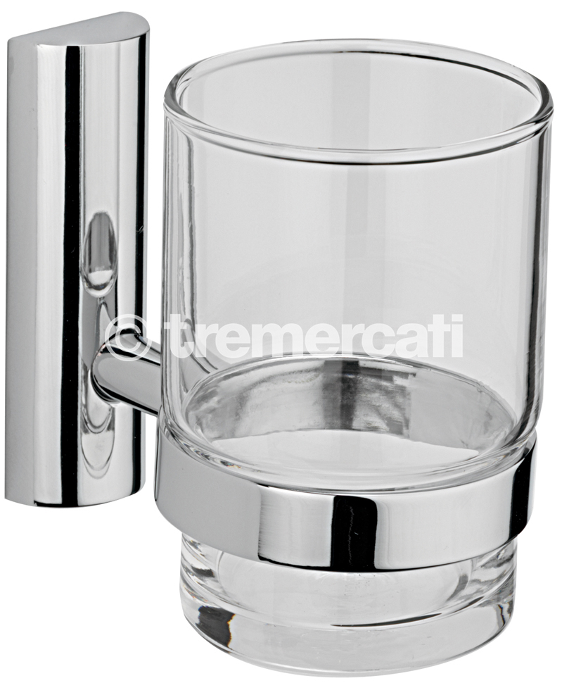 TRE MERCATI TWIGGY WALL MOUNTED GLASS AND HOLDER - CHROME PLATED