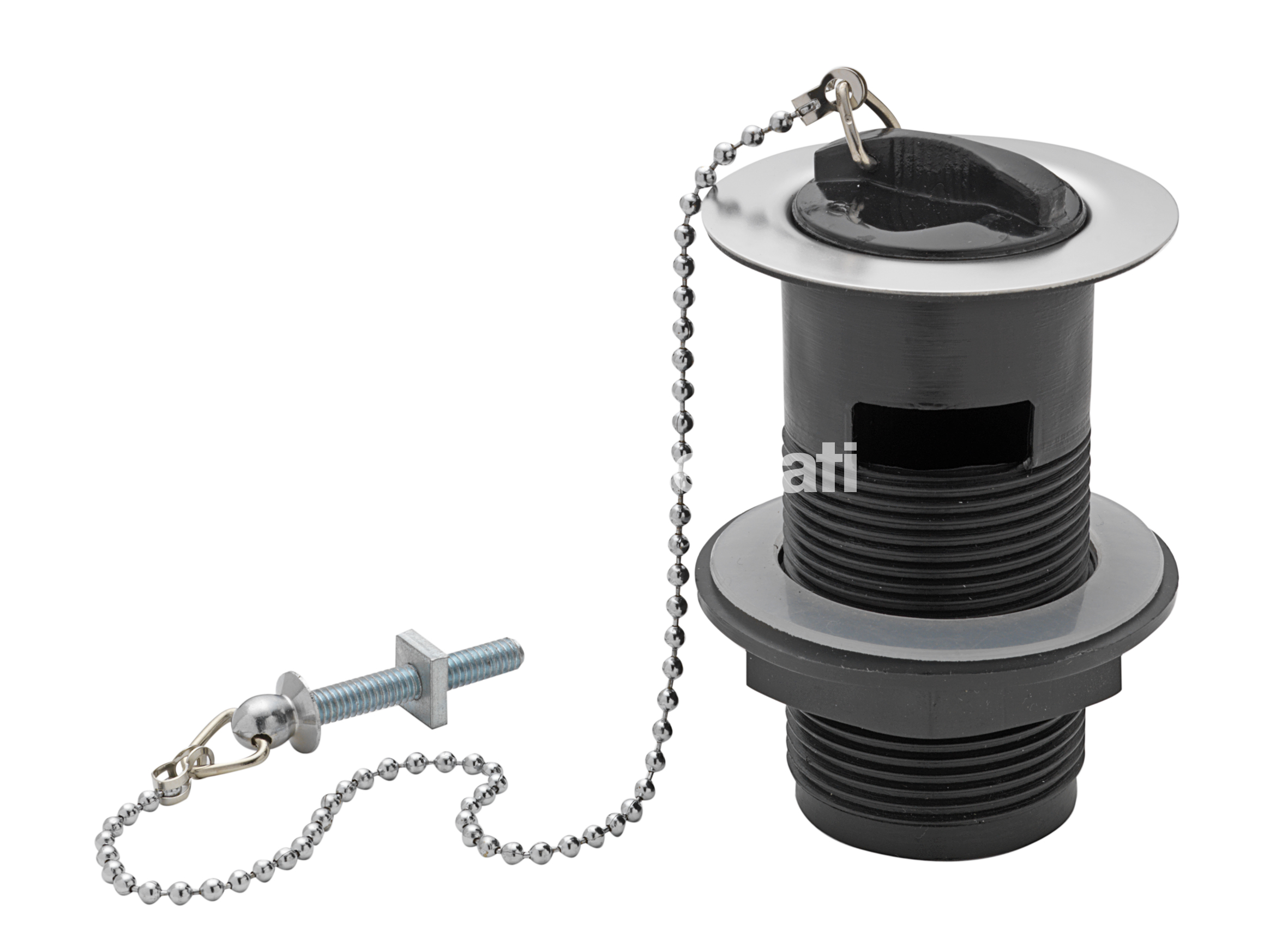 "TRE MERCATI 1 1/4"" BSP PLASTIC BASIN WASTE WITH RUBBER PLUG & BALL CHAIN - CHROME PLATED"