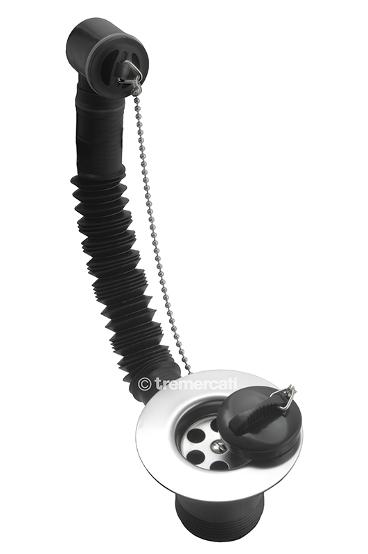 "TRE MERCATI 1 1/2"" BSP PLASTIC SINK WASTE WITH RUBBER PLUG & BALL CHAIN - CHROME PLATED"