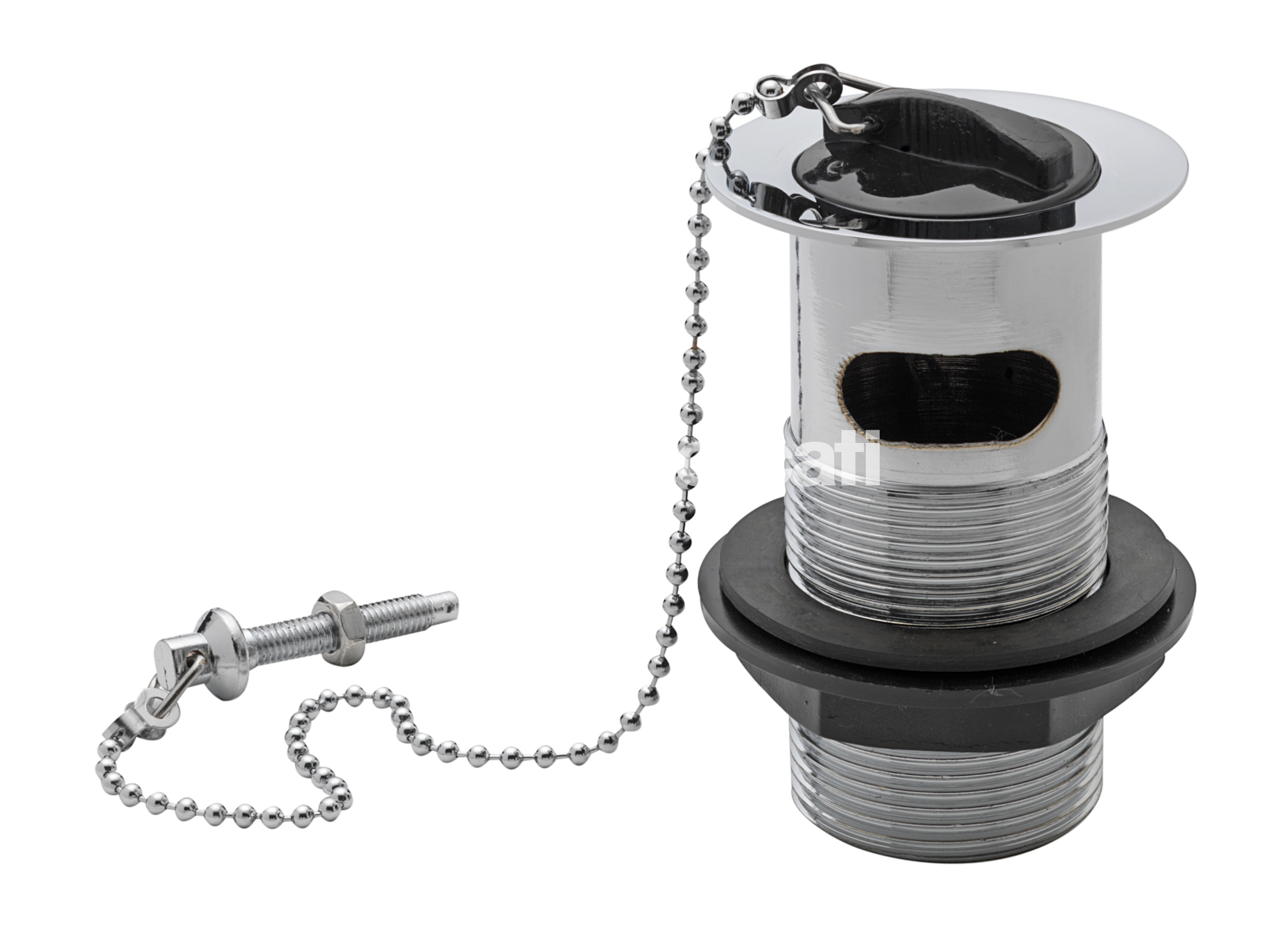 "TRE MERCATI 1 1/4"" BSP BRASS BASIN WASTE WITH RUBBER PLUG & BALL CHAIN - CHROME PLATED"
