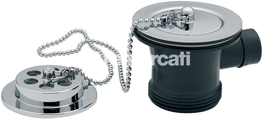 "TRE MERCATI 1 1/2"" BSP BATH WASTE & OVERFLOW - BRASS FLANGE - WITH SOLID PLUG & BALL CHAIN - CHROME PLATED"