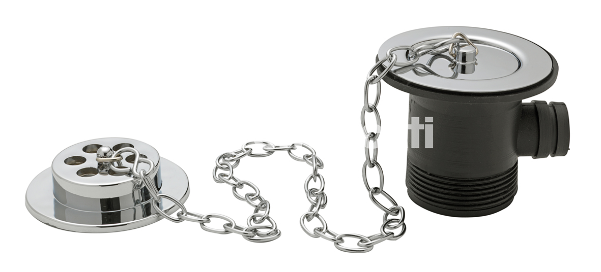 """TRE MERCATI 1 1/2"""" BSP BATH WASTE & OVERFLOW - BRASS FLANGE - WITH SOLID PLUG & OVAL LINK CHAIN - CHROME PLATED"""