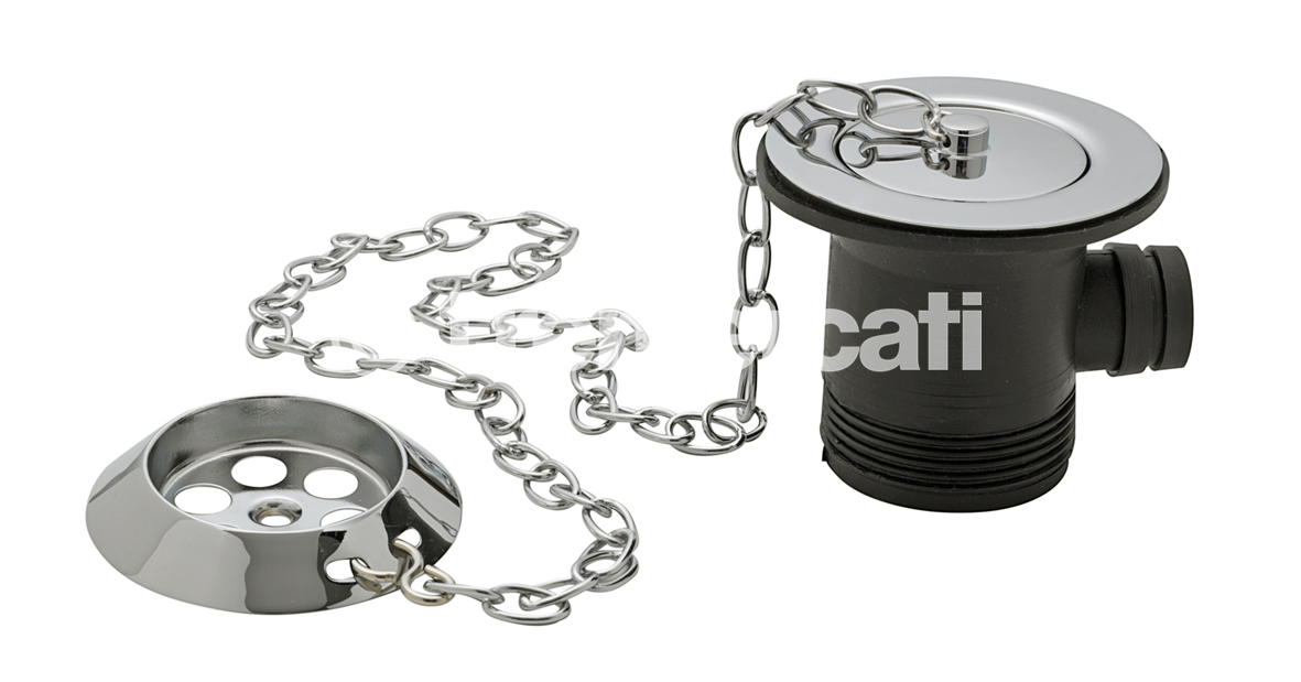 "TRE MERCATI 1 1/2"" BSP BATH WASTE & OVERFLOW - BRASS FLANGE - WITH PARKING PLUG & OVAL LINK CHAIN - CHROME PLATED"