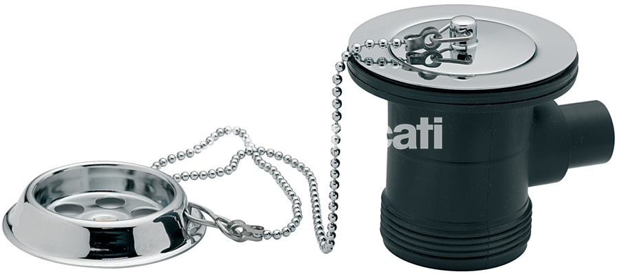 "TRE MERCATI 1 1/2"" BSP BATH WASTE & OVERFLOW - BRASS FLANGE - WITH PARKING PLUG & BALL CHAIN - CHROME PLATED"