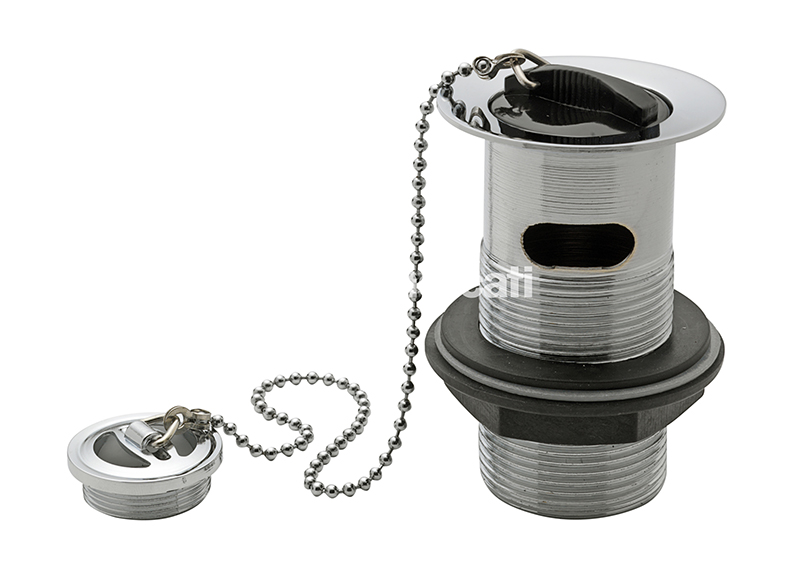 """TRE MERCATI 1 1/4"""" BSP BRASS VANITY WASTE & OVERFLOW WITH RUBBER PLUG & BALL CHAIN - CHROME PLATED"""