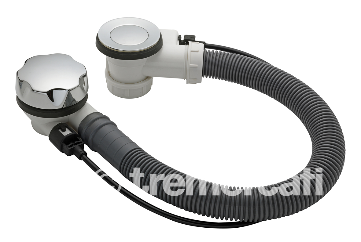 """TRE MERCATI 1 1/2"""" BSP AUTOMATIC BATH POP-UP WASTE WITH STOP DEVICE & SOLID PLUG - 60CM - CHROME PLATED"""