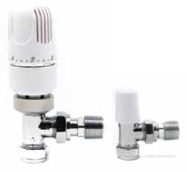 Westherm Classic 15mm Angled Thermostatic Radiator Valve (TRV) & Lockshield Pack - White