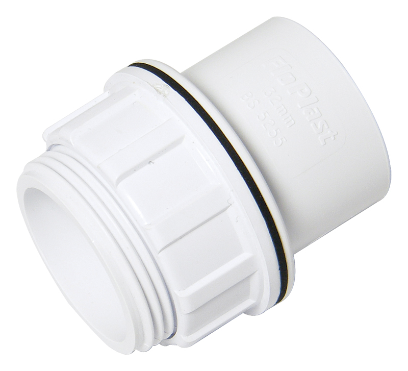 FLOPLAST WS60 32MM ABS SOLVENT WELD WASTE - TANK CONNECTOR - WHITE