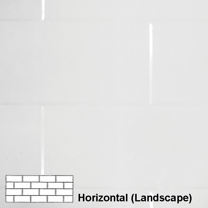 TILEPANEL BRICK HORIZONTAL TILES 2440MM X 1220MM WHITE GLOSS